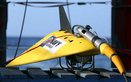 The towed pinger locator (TPL-25) sits on the deck of the Australian Defence Vessel Ocean Shield in the southern Indian Ocean during the search for the flight data recorder and cockpit voice recorder of the missing Malaysian Airlines flight MH370 in this picture released by the Australian Defence Force. (REUTERS)