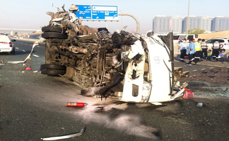 The mangled bus after an accident in Dubai on May 10. The bus, which was carrying 29 workers, collided with a truck killing 15 them. (SUPPLIED)