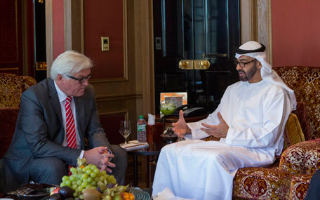 General Sheikh Mohamed bin Zayed Al Nahyan meets with Dr Frank-Walter Steinmeier Minister of Foreign Affairs for Germany in Berlin. (Wam)