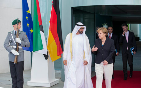 General Sheikh Mohamed bin Zayed Al Nahyan, Crown Prince of Abu Dhabi and Deputy Supreme Commander of UAE Armed Forces  with German Chancellor Angela Merkel in Berlin on Thursday.(Wam)