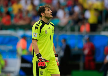 849ca2a31 Spain s goalkeeper Iker Casillas reacts during the group B World Cup soccer  match between Spain and