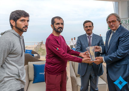 Sheikh Mohammed and Sheikh Hamdan honour President of the Region of Marche Gian Mario Spacca. (Supplied)