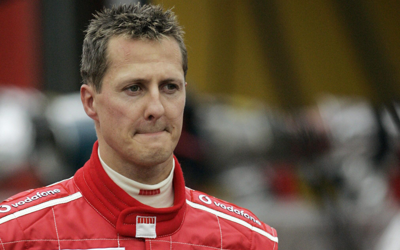 A photo taken on September 11, 2005 shows Ferrari German driver Michael Schumacher on the Spa-Francorchamps racetrack in Belgium. (AFP)