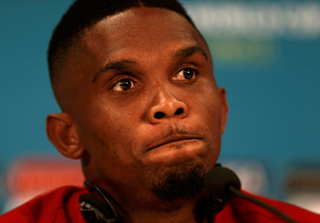 Cameroon's Samuel Samuel Eto'o gestures during a news conference before a team training at Arena da Amazonia stadium in Manaus, June 17, 2014.  (REUTERS)