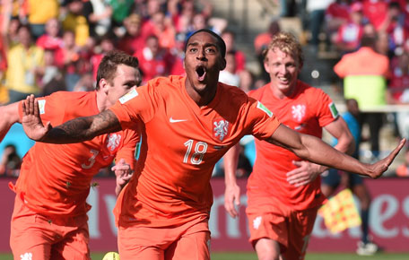 Netherlands' midfielder Leroy Fer celebrates scoring with his teammates during the Group B football match between Netherlands and Chile at the Corinthians Arena in Sao Paulo during the 2014 FIFA World Cup on June 23, 2014. (AFP)