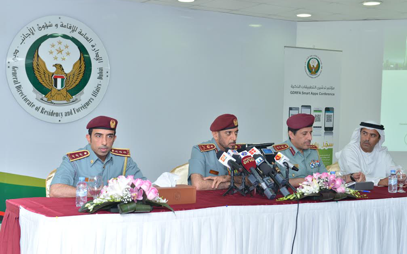Major General Mohammed Ahmed Al Marri and other GDRFA officials launching the new smartphone application in Dubai on Thursday.