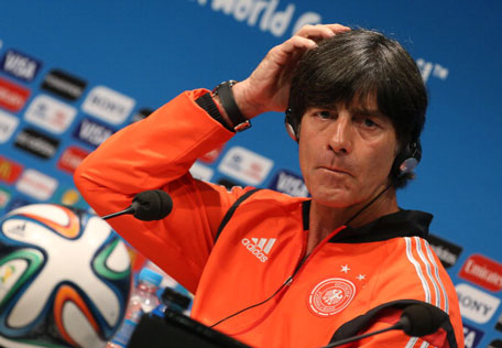 Head coach of Germany Joachim Loew answers to the media during a press conference on the eve of the 2014 FIFA World Cup Brazil Quarter Final match between France and Germany at Estadio Maracana on July 3, 2014 in Rio De Janeiro, Brazil. (GETTY)