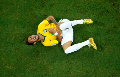Neymar of Brazil reacts during the 2014 FIFA World Cup Brazil Quarter Final match between Brazil and Colombia at Castelao on July 4, 2014 in Fortaleza, Brazil. (GETTY)