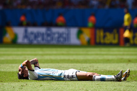 Angel di Maria of Argentina reacts during the 2014 FIFA World Cup Brazil Quarter Final match between Argentina and Belgium at Estadio Nacional on July 5, 2014 in Brasilia, Brazil. (GETTY)