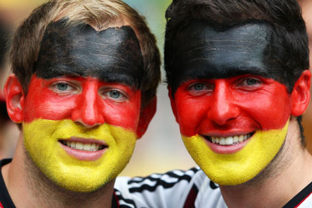 Germany fans enjoy the atmosphere prior to kickoff during the 2014 FIFA World Cup Brazil Semi Final match between Brazil and Germany at Estadio Mineirao on July 8, 2014 in Belo Horizonte, Brazil. (GETTY)
