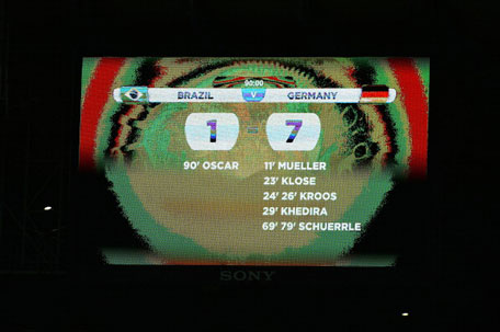 A view of the scoreboard showing Germany's victory with a final score of 7-1 during the 2014 FIFA World Cup Brazil Semi Final match between Brazil and Germany at Estadio Mineirao on July 8, 2014 in Belo Horizonte, Brazil. (GETTY)