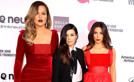 Kim, Kourtney, and Khloe Kardashian attend Elton John's 22nd annual AIDS Foundation Oscars viewing party at West Hollywood Park on Sunday, March 2. (AFP)