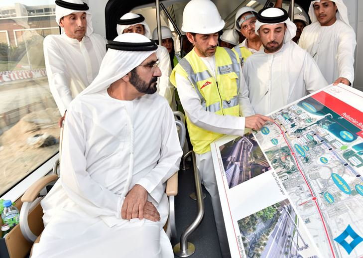 During the trial operation in Al Sufouh area, Sheikh Mohammed bin Rashid was accompanied by Sheikh Hamdan bin Mohammed bin Rashid Al Maktoum, Crown Prince of Dubai and Sheikh Maktoum bin Mohammed bin Rashid Al Maktoum, Deputy Ruler of Dubai. (Supplied)