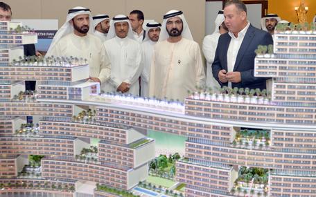 His Highness Sheikh Mohammed bin Rashid Al Maktoum inspecting the projects (Wam)