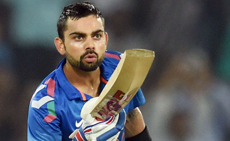 Indian cricketer Virat Kohli celebrates after scoring 50 against Sri Lanka in Hyderabad on Nov 9, 2014. (SCREEN GRAB)
