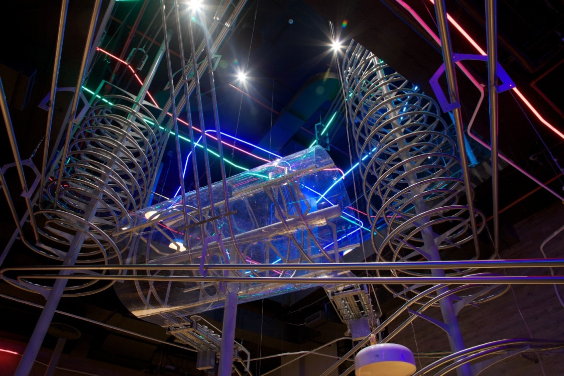 Focal point of the 14,000-square foot restaurant is the network of 30 individual rollercoaster tracks. (Supplied)