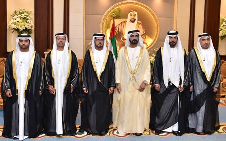 Five new UAE ambassadors were sworn in before Sheikh Mohammed bin Rashid in Abu Dhabi on Monday. (Wam)
