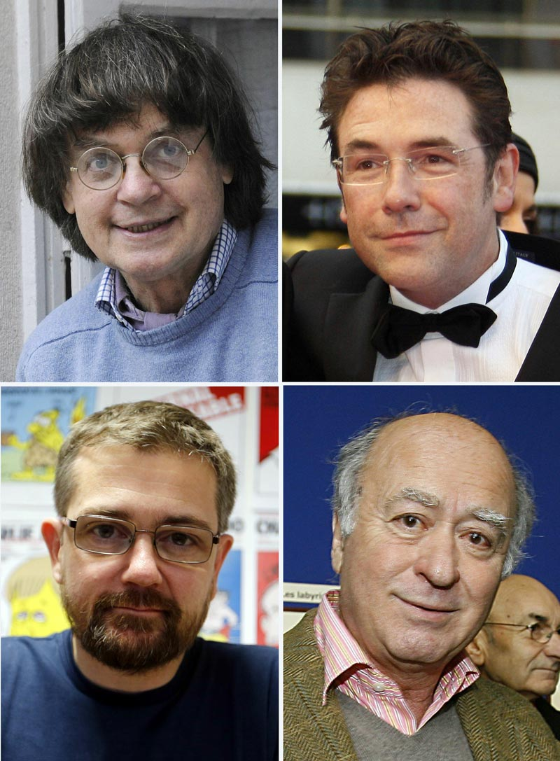 A combination of file photos made on January 7, 2015 shows (top from L) French cartoonist Jean Cabut, aka Cabu, posing at his home in Paris on December 10, 2008, French cartoonist Tignous posing in Cannes on May 17, 2008, (bottom from left) French satirical weekly Charlie Hebdo's publisher, known only as Charb, posing in Paris on December 27, 2012 and French cartoonist of the satirical newspaper Charlie Hebdo Georges Wolinski posing in Angouleme on January 26, 2006. At least 12 people were killed, including cartoonists Charb, Wolinski, Cabu and Tignous, when gunmen armed with Kalashnikovs and a rocket-launcher opened fire in the Paris offices of French satirical weekly Charlie Hebdo on January 7, 2015.  (AFP)
