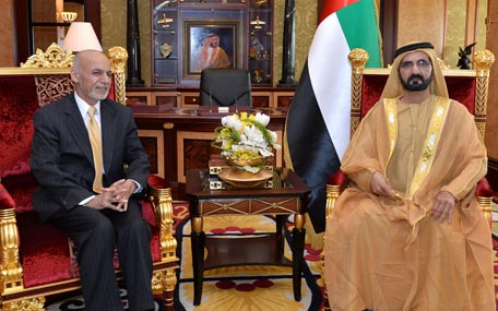 Sheikh Mohammed receives Dr. Mohammed Ashraf Ghani, President of the Islamic Republic of Afghanistan on Wednesday (Wam)