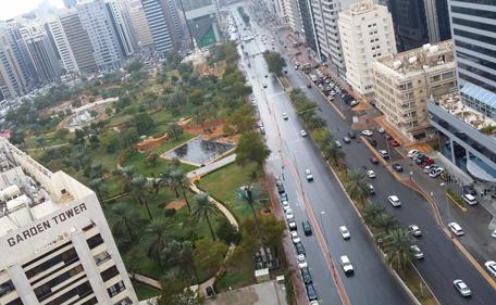 Rain in Abu Dhabi, Khalifa Street. (Pic credit: Khalid Omeirat)