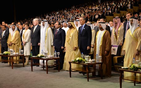 Sheikh Mohammed bin Rashid, Abdel Fattah El Sisi, President of Egypt General Sheikh Mohamed bin Zayed and other leaders at the opening ceremony of the World Future Energy Summit at the Abu Dhabi National Exhibition Centre in the UAE capital on Monday. (Wam)