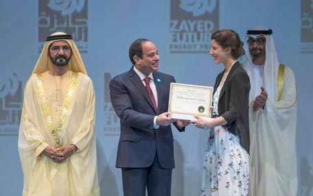 Sheikh Mohammed bin Rashid, Gen. Mohamed bin Zayed and Abdel Fattah El Sisi, President of Egypt, present the Zayed Future Energy Prize Oceania Global High Schools Award to a student representative from Melbourne Girls' High School in Australia. (Wam)