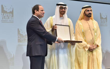 President Abdul Fattah El Sisi of Egypt, Gen. Mohamed bin Zayed and Sheikh Mohammed bin Rashid at the presentation of Zayed Future Engery Prize Awards in Abu Dhabi on Monday. (Wam)