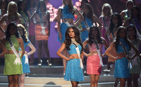 Contestants pose on stage during the 63rd Annual MISS UNIVERSE Pageant at Florida International University on January 25, 2015 in Miami, Florida. (AFP)