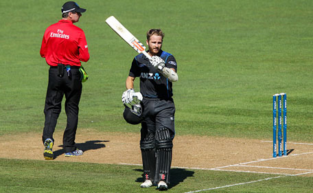 Kane Williamson of New Zealand celebrates his century during the One Day International match between New Zealand and Pakistan at McLean Park on February 3, 2015 in Napier, New Zealand. (Getty)