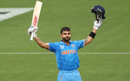 Virat Kohli of India celebrates after reaching 100 runs during the 2015 ICC Cricket World Cup match between India and Pakistan at Adelaide Oval on February 15, 2015 in Adelaide, Australia. (Getty Images)