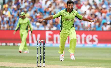 Sohail Khan of Pakistan celebrates after getting the wicket of Virat Kohli of India during the 2015 ICC Cricket World Cup match between India and Pakistan at Adelaide Oval on February 15, 2015 in Adelaide, Australia. (Getty Images)