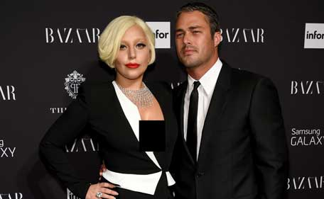 Lady Gaga and Taylor Kinney attend Samsung GALAXY At Harper's BAZAAR Celebrates Icons By Carine Roitfeld at The Plaza Hotel on September 5, 2014 in New York City. (Getty)
