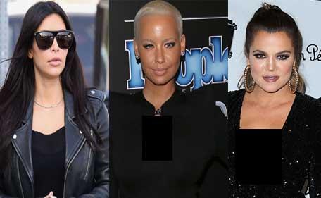 War of words between rapper Amber Rose (C) and Khloe Kardashian (R) on social media after the former slams Kim Kardashian (L) and Kylie Jenner. (Bang)