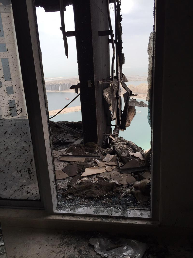 Scene in one of the burnt apartments in Torch Tower in Dubai Marina.