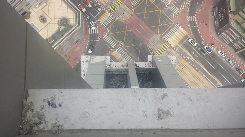 Scene at Torch tower in Dubai Marina, post the fire. (Bindu Rai)