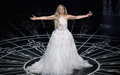 Lady Gaga performs onstage during the 87th Annual Academy Awards at Dolby Theatre on February 22, 2015 in Hollywood, California. (Getty)