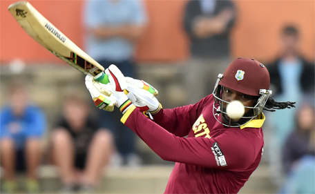 West Indies Chris Gayle plays a shot during the 2015 Cricket World Cup Pool B match between the West Indies and Zimbabwe at The Manuka Oval in Canberra on February 24, 2015. (AFP)