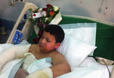The boy suffered from burns all over his body and was rushed to hospital. (Sabq)