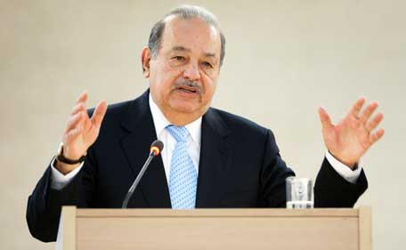 Mexican telecommunications and retail tycoon Carlos Slim Helu ranked second, worth $77.1 billion, in Forbes magazine's annual list of the world's richest people. (Reuters)