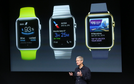 Apple CEO Tim Cook stands in front of a screen displaying apps available for the Apple Watch at a presentation at Apple headquarters in Cupertino, California in this October 16, 2014, file photo. Apple Inc has allowed some companies to test their apps on its yet-to-be-launched Apple Watch and adjust the tools to the watch's design, Bloomberg reported, March 6, 2015. (REUTERS)