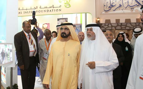 Sheikh Mohammed bin Rashid Al Maktoum toured the International Emergency and Catastrophe Management Conference and Exhibition (IECM) and the Dubai International Humanitarian Aid & Development Exhibition, in Dubai on Wednesday. (Wam)