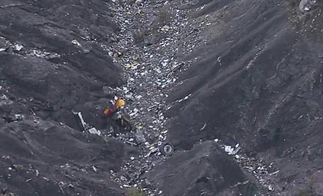 Debris is scattered over the area after a Germanwings Airbus 320 crashed near Seyne-les-Alpes in the French Alps. (AP)