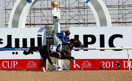 Manark ridden by Dane O'Neill wins the Dubai Kahayla Classic during the Dubai World Cup at the Meydan Racecourse on March 28, 2015 in Dubai, UAE. (Getty Images)