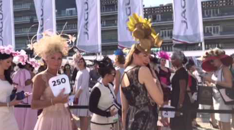 Ladies line up for the 'Hat Competition' at the Dubai World Cup. (Ajanta Paul)