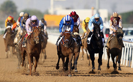 Tamarkuz ridden by Paul Hanagan wins the Godolphin Mile during the Dubai World Cup at the Meydan Racecourse on March 28, 2015 in Dubai, UAE. (Getty Images)