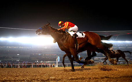 Secret Circle ridden by Victor Esinoza wins the Dubai Golden Shaheen during the Dubai World Cup at the Meydan Racecourse on March 28, 2015 in Dubai, UAE. (Getty Images)