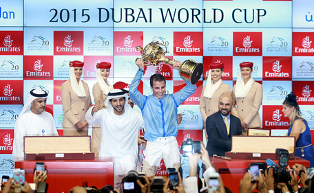William Buick and Sheikh Hamdan bin Mohammed bin Rashid Al Maktoum, Crown Prince of Dubai, celebrate winning the Dubai World Cup on Prince Bishop at the Meydan Racecourse on March 28, 2015 in Dubai, UAE. (Getty)