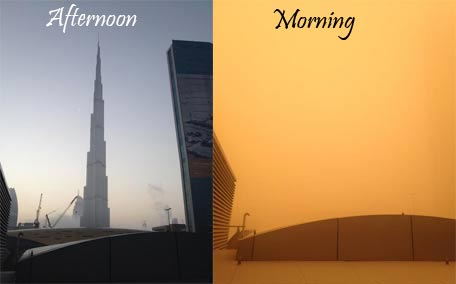 Burj Khalifa view on normal day vs this morning. Image shared by Sangeetha