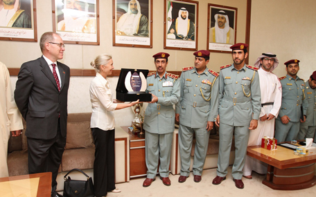 Switzerland's Ambassador to UAE, Andrea Reichlan, thanks role of General Command of Ajman Police in pursuing vendors of counterfeit products. (Supplied)
