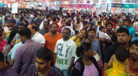 Gitex Shoppper is buzzing with crowds thronging the venue. (Bindu Rai)